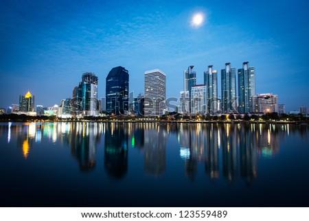 Bangkok cityscape at twilight, Thailand - stock photo