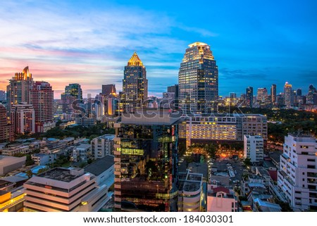 Bangkok Cityscape at twilight , The color of the city (Thailand)