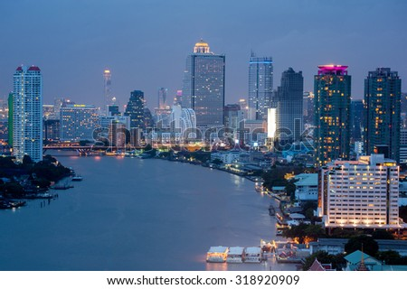 Bangkok cityscape. Bangkok night view in the business district.