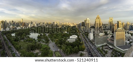 Bangkok cityscape. Bangkok night view in the business district and Lumpini park in the evening