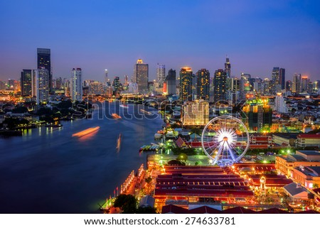 Bangkok cityscape. Bangkok night view in the business district at  - stock photo