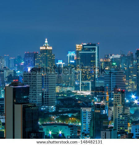 Bangkok cityscape. Bangkok night view in the business district. at dusk. - stock photo