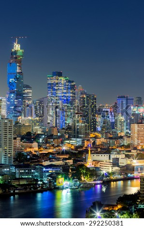 Bangkok cityscape. Bangkok night view in the business district. at night.