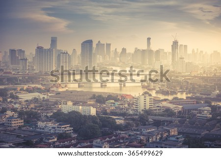 Bangkok cityscape. Bangkok sunrise view in the business district. Thailand