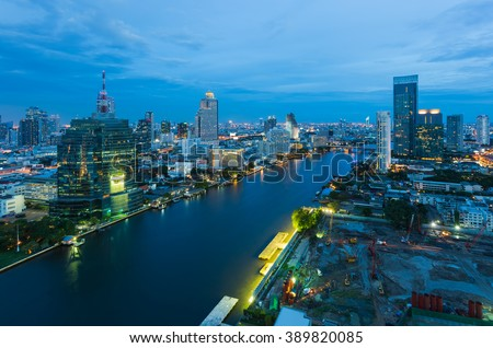 Bangkok Cityscape, business district with expressway and highway at night , Bangkok, Thailand - stock photo