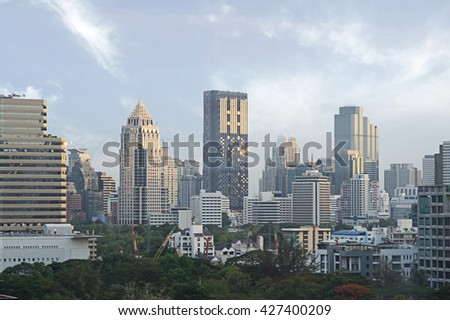 Bangkok Cityscape, downtown with hotel, condominium and high rise building,Thailand.