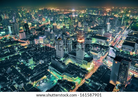 Bangkok Cityscape Expressway and Highway top view at night, Thailand - stock photo
