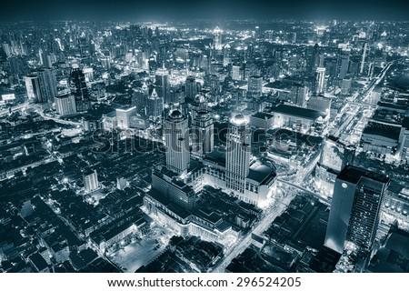 Bangkok Cityscape Expressway and Highway top view at night, Thailand - stock photo