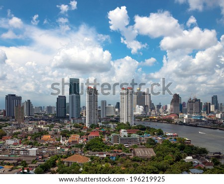Bangkok cityscape in afternoon time near the business district