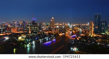 bangkok cityscape night light - stock photo