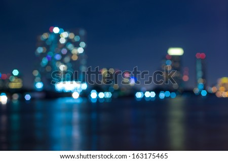 bangkok cityscape river view at twilight time, Blurred Photo bokeh - stock photo