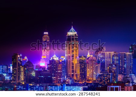 Bangkok Cityscape twilight, Business district with high building, Thailand.