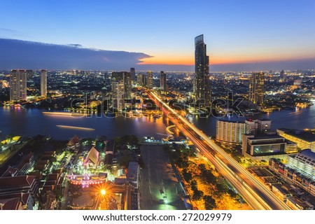Bangkok cityscape twilight time - stock photo