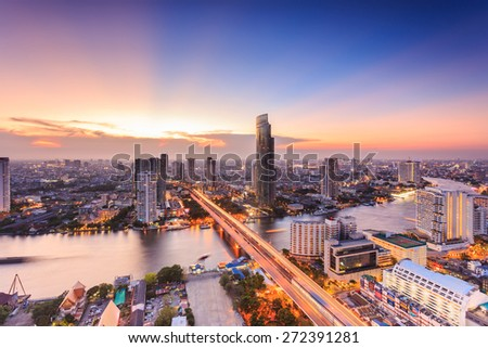 Bangkok cityscape, view from high building - stock photo