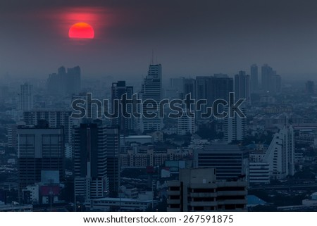 Bangkok dark blue twilight