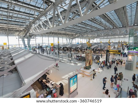 BANGKOK - DEC 17; 2015: A general view of check in area of the Bangkok International Airport Suvarnabhumi which is the sixth busiest airport in Asia. - stock photo
