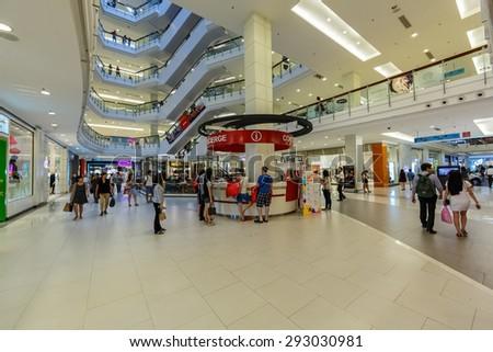 BANGKOK - DEC 5: People shop at Central World on Dec 5, 2014 in Bangkok. It is a shopping plaza and complex which is the sixth largest shopping complex in the world, owned by Central Pattana.