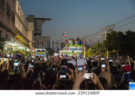 Bangkok -DEC.21 : Thailand many fans celebrate football championship parade  of AFF Suzuki cup Champions 2014 on December 21, 2014 in Bangkok, Thailand.