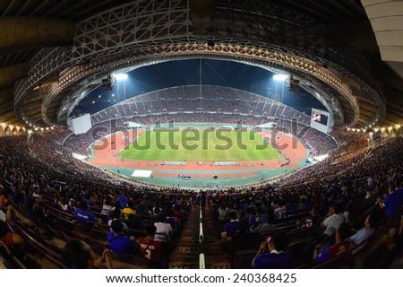 BANGKOK, DEC 17:Top view of Rajamangala stadium during the competition 2014 AFF Suzuki Cup between Thailand and Malaysia at Rajamangala stadium on December 17, 2014 in Bangkok, Thailand.  - stock photo