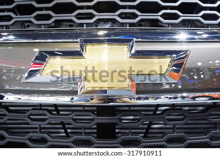 Bangkok - December 28 : close up logo of Chevrolet on front grill  - in display at Thailand international motor expo 2014 on December 28, 2014 in Bangkok Thailand  - stock photo