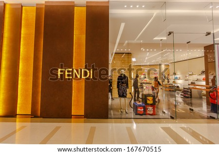 BANGKOK - DECEMBER 5: Front view of FIDI store on Dec 5, 2013 in Siam Paragon Bangkok, Thailand. It is a multinational luxury goods brand owned by LVMH Moet Hennessy Louis Vuitton.d - stock photo