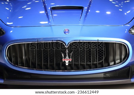 BANGKOK - DECEMBER 9 : Logo of Maserati Ghibi Granturismo from Italy displayed on stage in Motor Expo 2014, on dec. 9, 2014 in Bangkok, Thailand. - stock photo