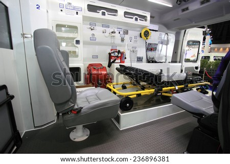 BANGKOK - DECEMBER 9 : Maxus, the car has been designed and decorated to an ambulance truck displayed in Motor Expo 2014, on dec. 9, 2014 in Bangkok, Thailand. - stock photo