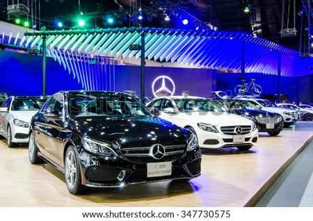 BANGKOK - DECEMBER 1: Mercedes-Benz C 300 BlueTec Hybrid car on display at the 32nd Thailand International Motor Expo 2015 on December 1, 2015 in Nonthaburi, Thailand.