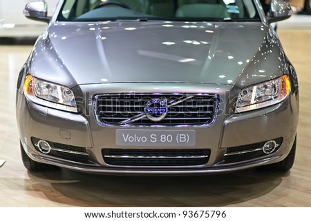 BANGKOK - DECEMBER 03 : VOLVO S80 on display at the Thailand International Motor Expo 2011 on DECEMBER 03, 2011 in Bangkok, Thailand. - stock photo