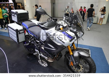 BANGKOK - December 11 : Yamaha Super Tenere  motorcycle on display at The Motor Expo 2015 on December 11, 2015 in Bangkok, Thailand.