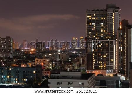 Bangkok downtown city at night, Thailand - stock photo
