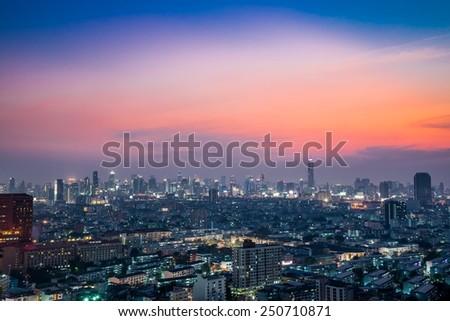 Bangkok downtown city at twilight, Thailand - stock photo