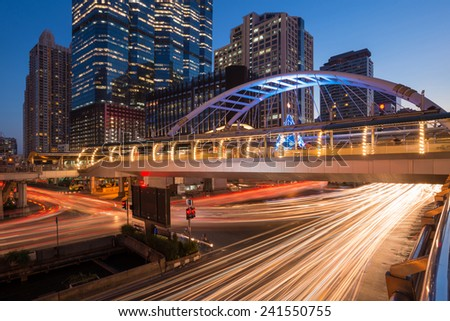Bangkok downtown square during night in business zone,Thailand - stock photo