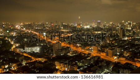 Bangkok downtown top View at Night