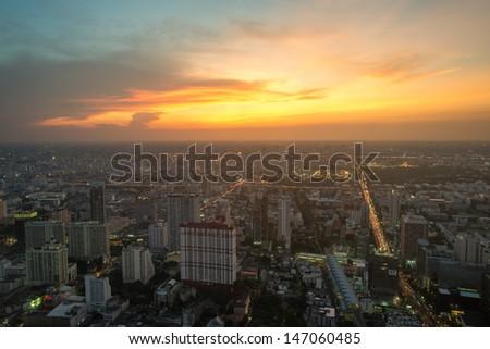 Bangkok evening view - stock photo