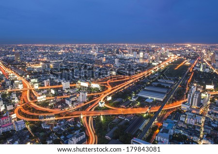 Bangkok express way at night seen from high building - stock photo