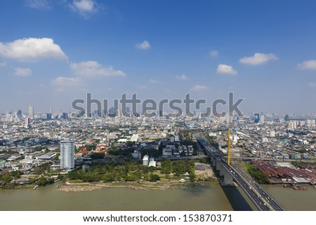 Bangkok Expressway and city scape top view, Thailand - stock photo