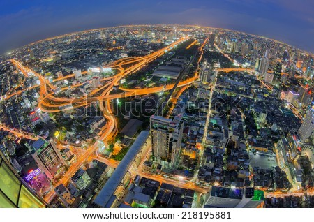 Bangkok Expressway and Highway top view of Thailand, with Fisheye lens. - stock photo