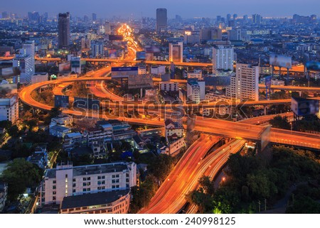 Bangkok Expressway and Highway top view, Thailand - stock photo