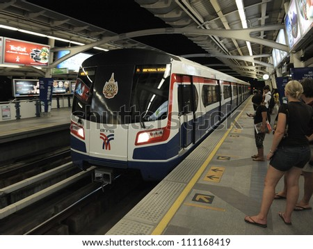 BANGKOK - FEB 22: A BTS Skytrain pulls into National Stadium station in the city centre as the rail network recently opens six new stations on Feb 22, 2012 in Bangkok, Thailand.