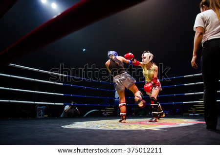 BANGKOK -FEBRUARY 6: Unidentified woman boxer in Krudam Fight #4 on Muaythai Day at Asia Tique on February 6, 2016 in Bangkok, Thailand.