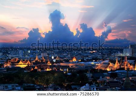 Bangkok grand palace at night with beautiful sky - stock photo