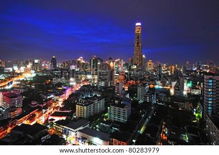 Bangkok in twilight - stock photo