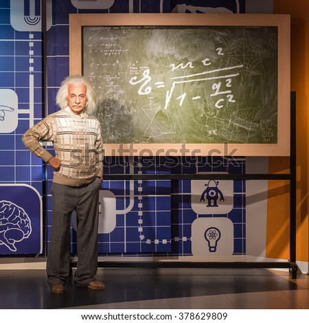 BANGKOK - JAN 29: A waxwork of Albert Einstein on display at Madame Tussauds on January 29, 2016 in Bangkok, Thailand. Madame Tussauds' newest branch hosts waxworks of numerous stars and celebrities - stock photo