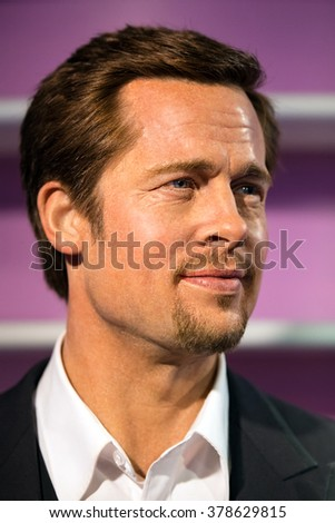 BANGKOK - JAN 29: A waxwork of Brad Pitt on display at Madame Tussauds on January 29, 2016 in Bangkok, Thailand. Madame Tussauds' newest branch hosts waxworks of numerous stars and celebrities
