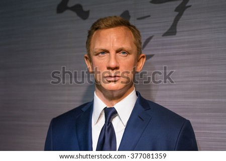 BANGKOK - JAN 29: A waxwork of Daniel Craig on display at Madame Tussauds on January 29, 2016 in Bangkok, Thailand. Madame Tussauds' newest branch hosts waxworks of numerous stars and celebrities - stock photo