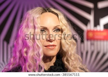 BANGKOK-JAN 29:: A waxwork of Madonna on display at Madame Tussauds on January 29, 2016 in Bangkok, Thailand. Madame Tussauds' newest branch hosts waxworks of numerous stars and celebrities - stock photo