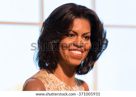 BANGKOK -JAN 29: A waxwork of Michelle Obama on display at Madame Tussauds on January 29, 2016 in Bangkok, Thailand. Madame Tussauds' newest branch hosts waxwork of numerous stars and celebrities - stock photo
