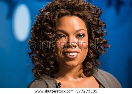 BANGKOK - JAN 29: A waxwork of Oprah Winfrey on display at Madame Tussauds on January 29, 2016 in Bangkok, Thailand. Madame Tussauds' newest branch hosts waxworks of numerous stars and celebrities - stock photo