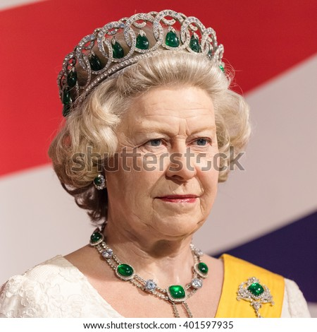 BANGKOK -JAN 29: A waxwork of Queen Elizabeth on display at Madame Tussauds on January 29, 2016 in Bangkok, Thailand. Madame Tussauds' newest branch hosts waxworks of numerous stars and celebrities - stock photo